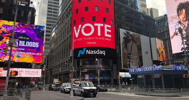 Vote.org billboard on Times Square 2020
