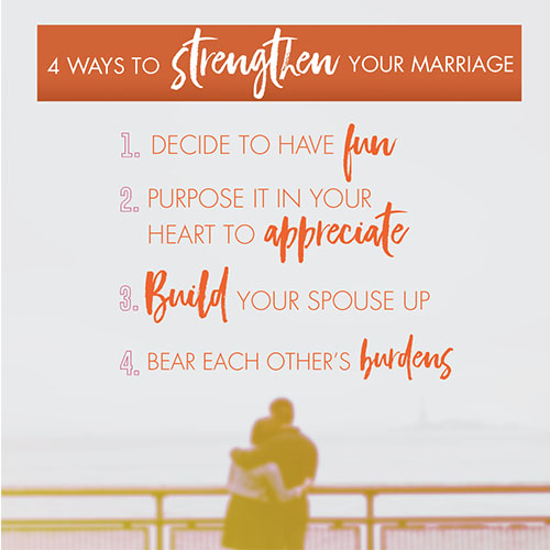 4 Ways To Strengthen Your Marriage 1. Decide to have fun 2. Purpose in your heart to appreciate 3. Build your spouse up 4. Bear each other