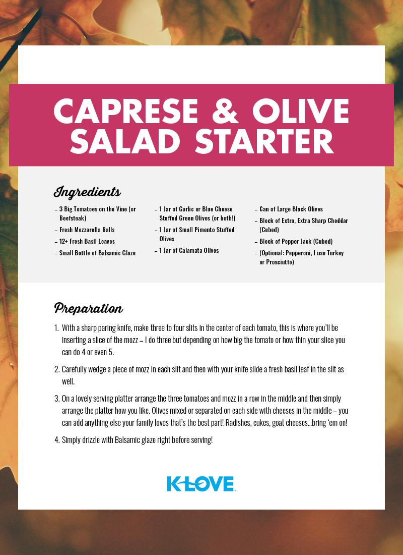 Caprese and Olive Salad Starter