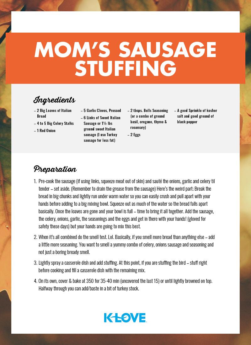 Moms Sausage Stuffing!