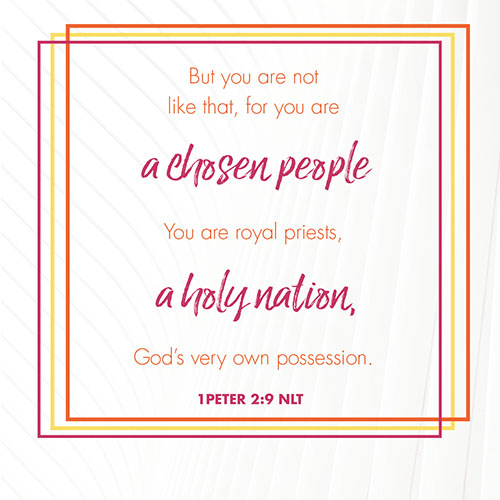 """""""But you are not like that, for you are a chosen people. You are royal priests, a holy nation, God"""