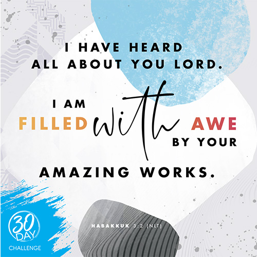 """I have heard all about you Lord. I am filled with awe by your amazing works."" Habakkuk 3:2 NLT"
