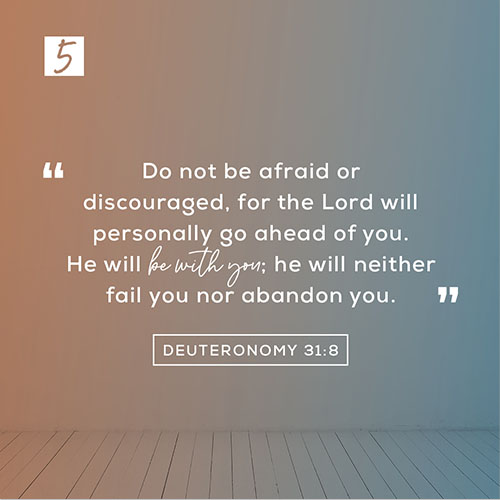 """Deuteronomy 31:8 (NLT) – """"Do not be afraid or discouraged, for the Lord will personally go ahead of you. He will be with you; he will neither fail you nor abandon you."""""""