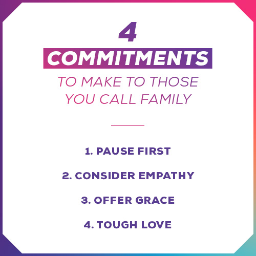 4 Commitments To Make To Those You Call Family 1. Pause first  2. Consider empathy  3. Offer grace  4. Tough love