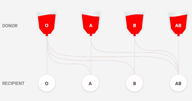 Chart on which blood types are compatible
