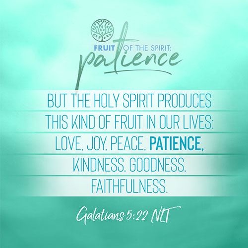 """""""But the Holy Spirit produces this kind of fruit in our lives: love, joy, peace, patience, kindness, goodness, faithfulness."""" - Galatians 5:22"""