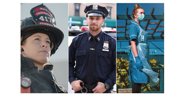 3x montage, Woman firefighter, Male policeman, Female Nurse outdoors