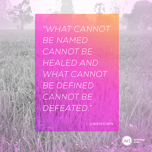 """""""what cannot be named cannot be healed and what cannot be defined cannot be defeated."""" - Unknown"""