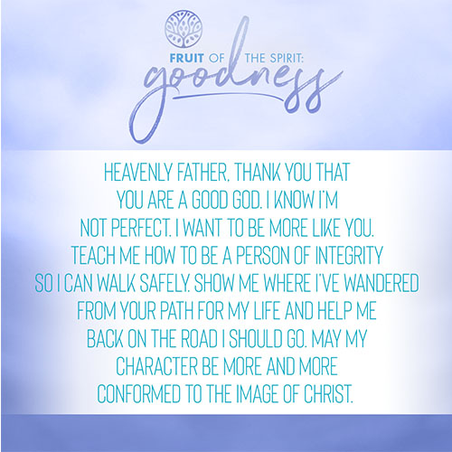 Heavenly Father, thank you that you are a good God. I know I'm not perfect. I want to be more like you. Teach me how to be a person of integrity so I can walk safely. Show me where I've wondered from your path for my life and help me back on the road I should go. May my character be more and more conformed to the image of Christ.