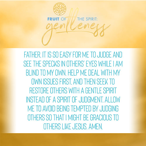 Father, it is so easy for me to judge and see the specks in others' eyes while I am blind to my own. Help me deal with my own issues first, and then seek to restore others with a gentle spirit instead of a spirit of judgment. Allow me to avoid being tempted by judging others so that I might be gracious to others like Jesus. Amen.