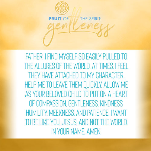 Father, I find myself so easily pulled to the allures of the world. At times, I feel they have attached to my character. Help me to leave them quickly. Allow me as your beloved child to put on a heart of compassion, gentleness, kindness, humility, meekness, and patience. I want to be like you, Jesus, and not the world. In your name, amen.