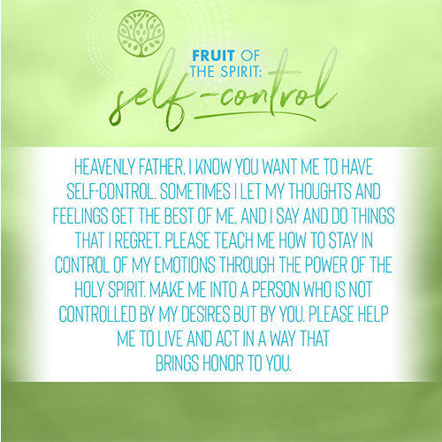 Heavenly Father, I know you want me to have self-control. Sometimes I let my thoughts and feelings get the best of me, and I say and do things that I regret. Please teach me how to stay in control of my emotions through the power of the Holy Spirit. Make me into a person who is not controlled by my desires but by you. Please help me to live and act in a way that brings honor to you.