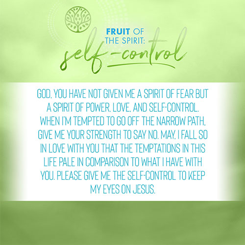 God, you have not given me a spirit of fear but a spirit of power, love, and self-control. When I'm tempted to go off the narrow path, give me your strength to say no. May, I fall so in love with you that the temptations in this life pale in comparison to what I have with you. Please give me the self-control to keep my eyes on Jesus.
