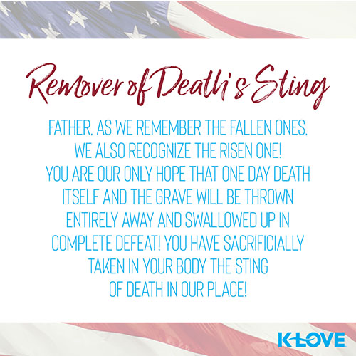 Remover of Death's Sting   Father, as we remember the fallen ones, we also recognize the risen one! You are our only hope that one day death itself and the grave will be thrown entirely away and swallowed up in complete defeat! You have sacrificially taken in your body the sting of death in our place!