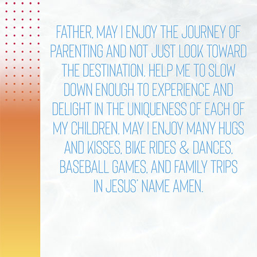 Father,May I enjoy the journey of parenting and not just look toward the destination. Help me to slow down enough to experience and delight in the uniqueness of each of my children. May I enjoy many hugs and kisses, bike rides & dances, baseball games, and family trips in Jesus' name amen.