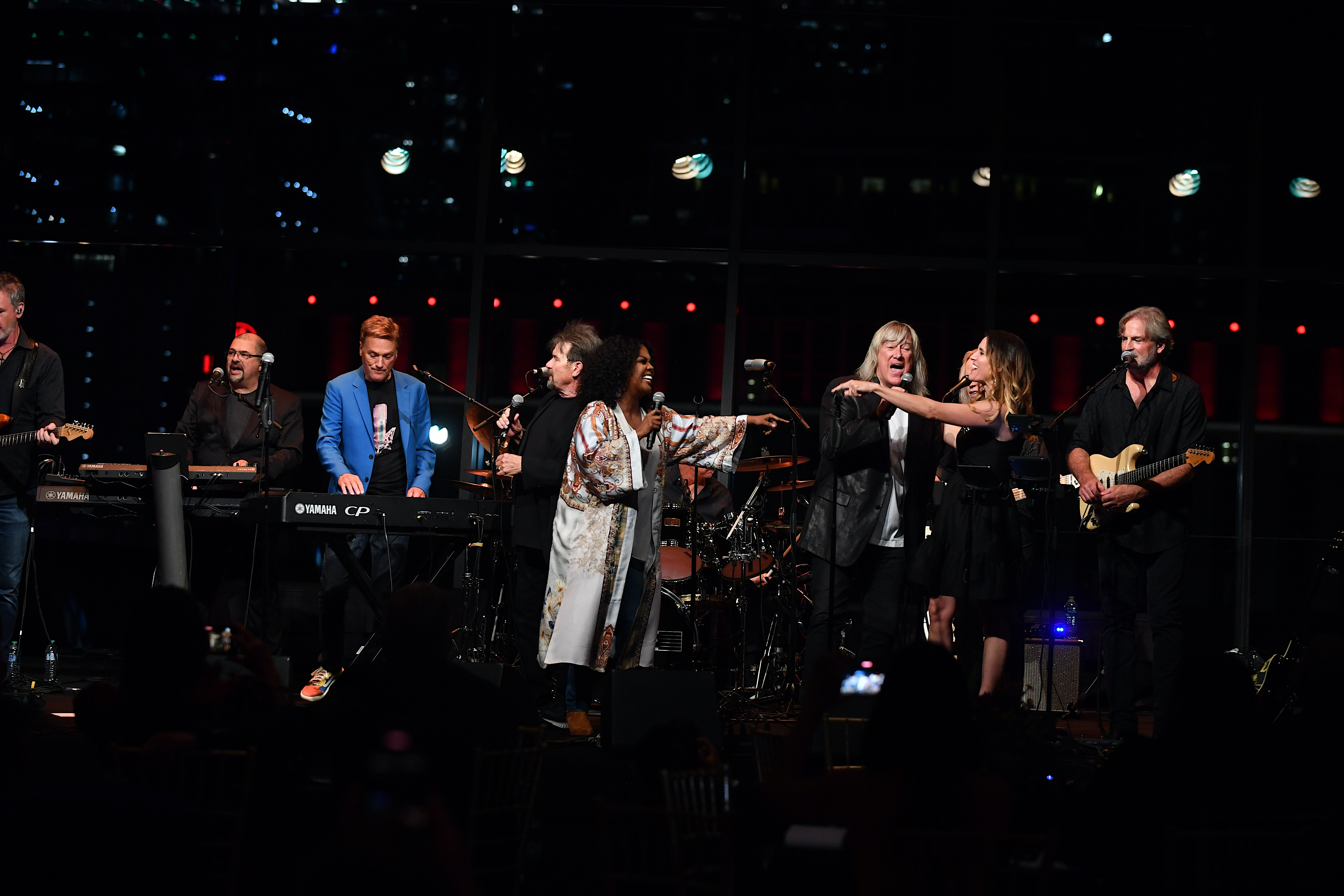 Russ Taff, Michael W. Smith, CeCe Winans, John Schlitt, and Rebecca St. James perform on stage during the afterparty