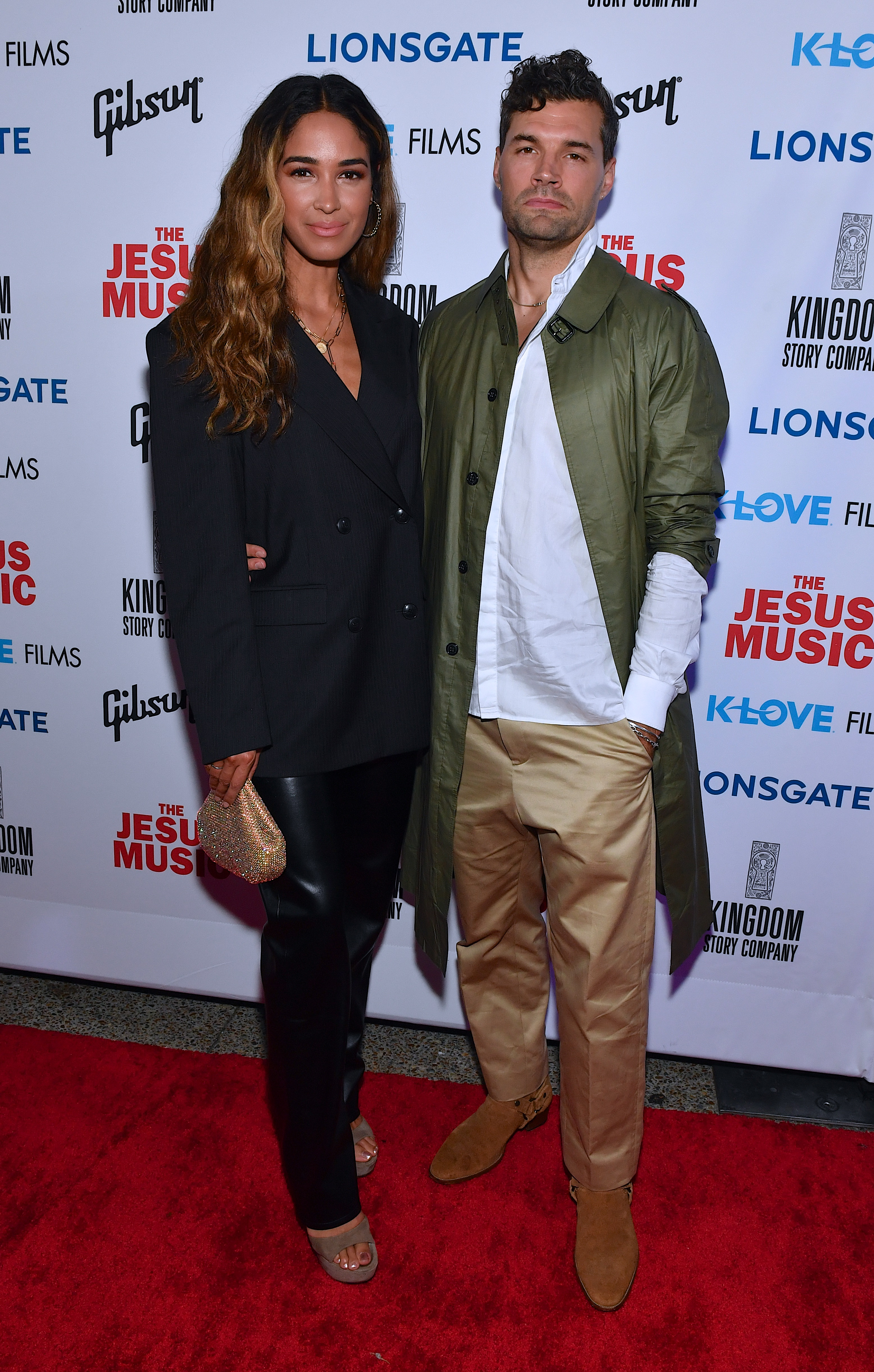 Luke Smallbone (R) and wife Moriah Peters arrive at the premiere of Lionsgate